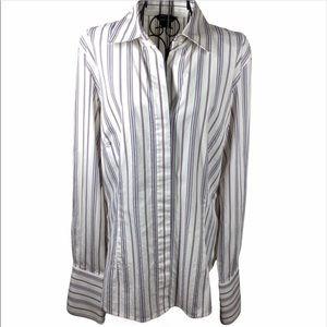 Moda International Button Down Shirt Striped Large